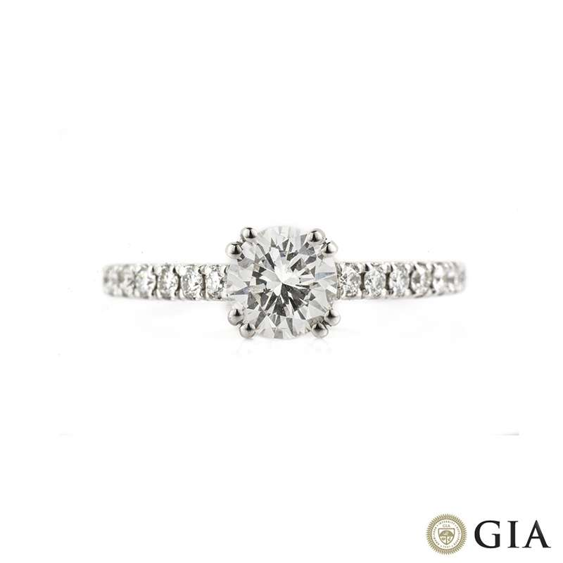 18k White Gold Round Brilliant Cut Diamond Ring 0.67ct H/VS2